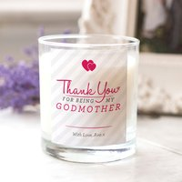 Personalised Scented Candle - Thank You Godmother - Godmother Gifts