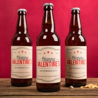 Personalised Set Of Three Beers - Happy Valentine's