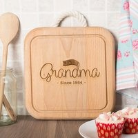 Engraved Wooden Square Board With Rope Handle - No.1 Grandma - Grandma Gifts