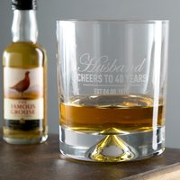 Engraved Stern Whisky Glass - Husband, Cheers To 40 Years - Husband Gifts