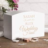 Personalised White Wooden Money Box - Wedding Fund