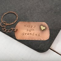 Personalised Copper Dog Tag Key Ring - Key Ring Gifts