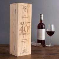 Personalised Luxury Wooden Wine Box - 40th Birthday