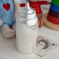 Engraved Silver Plated Baby Bottle Money Bank