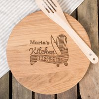 Personalised Barrel Top Oak Chopping Board - Open 24 Hours - Chopping Board Gifts