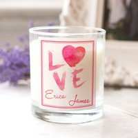 Personalised Scented Candle - Watercolour Love Paint - Candle Gifts