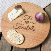 Personalised Barrel Top Oak Chopping Board - Family Heart - Chopping Board Gifts