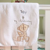 Personalised Button Corner Christening Blanket