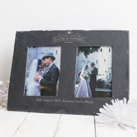 Image of Engraved Double Slate Photo Frame - Couples In Love