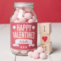 Personalised Jar Of Strawberry Bonbons - Happy Valentine's Day - Valentines Day Gifts