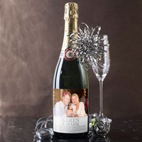Luxury Photo Upload Champagne - 25th Year Anniversary - Wedding Anniversary Gifts