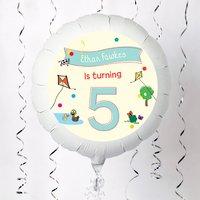 Personalised Large Helium Balloon - 5th Birthday Farmyard Print - 5th Birthday Gifts