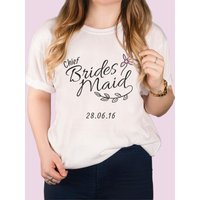 Personalised White T-Shirt - Floral Chief Bridesmaid - Bridesmaid Gifts