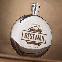 Engraved Round Hip Flask - Best Man