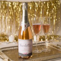 Luxury Personalised Rose Champagne - Pink Bow
