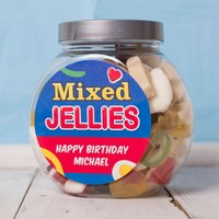 Personalised Haribo Sweet Jar - Birthday Blue - Haribo Gifts