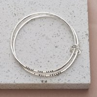 Personalised Posh Totty Designs Sterling Silver Double Bangle With Heart Charm - Posh Gifts