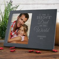Engraved Slate Chalkboard Photo Frame - Best Dad In The World - Engraved Gifts