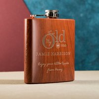 Personalised Harvey Makin Wood Look Hip Flask - My Old Man - Hip Flask Gifts