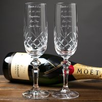 Engraved Cut Crystal Champagne Flutes