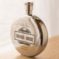 Engraved Round Hip Flask - Father of the Bride