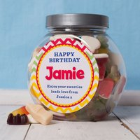 Personalised Haribo Sweet Jar - Birthday Zig Zag - Haribo Gifts