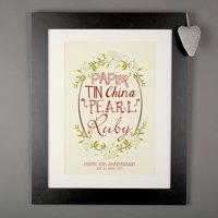 Personalised Print - Floral Ruby Anniversary - Wedding Anniversary Gifts