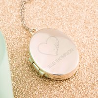 Engraved Oval Shaped Locket Necklace - Sister