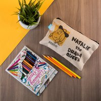 Personalised Beano Big Heads Pencil Case & Pencils - Minnie - Beano Gifts