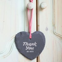 Engraved Heart-Shaped Slate Hanging Keepsake - Thank You Teacher - Teacher Gifts