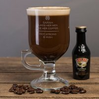 Personalised Irish Coffee Glass With Baileys Miniature - Hot and Strong - Baileys Gifts