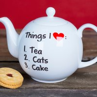 Personalised Bone China Teapot - Things I LOVE - Teapot Gifts
