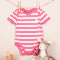 Personalised Striped Baby Onesie - Pink, Initials - Onesie Gifts