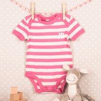 Personalised Striped Baby Onesie - Pink, Initials