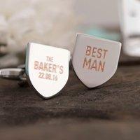 Personalised Shield Cufflinks - Best Man - Best Man Gifts