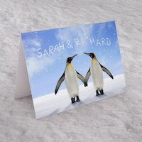 Personalised Christmas Card - Loving Penguins - Penguins Gifts