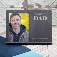 Engraved Slate Chalkboard Photo Frame - No1 Dad - Photo Frame Gifts