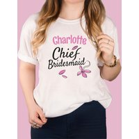 Personalised White T-Shirt - Chief Bridesmaid - Bridesmaid Gifts