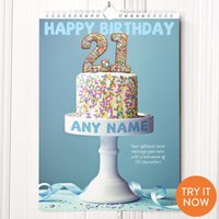 Personalised 21st Birthday Calendar - 21st Gifts