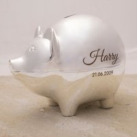 Personalised Silver-Plated Piggy Bank - Piggy Bank Gifts