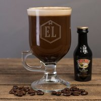 Personalised Irish Coffee Glass With Baileys Miniature - Initials - Baileys Gifts