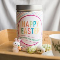 Personalised Tin With Biscuits - Happy Easter Stripes