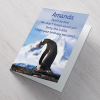 Personalised Card - Blue Penguin - Penguin Gifts
