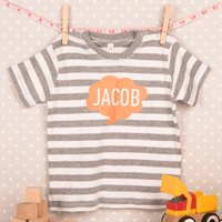 Personalised Baby Striped T-Shirt - Speech Bubble