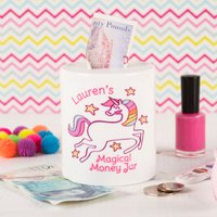 Personalised Ceramic Money Box - Unicorn - Money Gifts