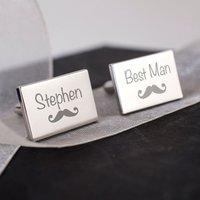 Engraved Rectangle Cufflinks - Wedding Best Man Moustache - Best Man Gifts