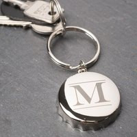 Personalised Bottle Opener Keyring - Initial - Bottle Opener Gifts