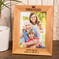 Personalised Wooden Photo Frame - Grandad Crown - Grandad Gifts