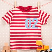 Personalised Baby Striped T-Shirt - Name and Number