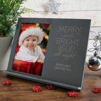 Engraved Slate Chalk Board Photo Frame - Merry And Bright & Up All Night